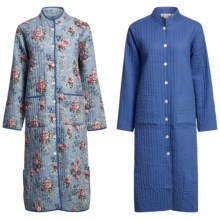 Orvis Quilted Cotton Robe - Reversible (For Women) in Light Blue Floral R/Blue - Closeouts