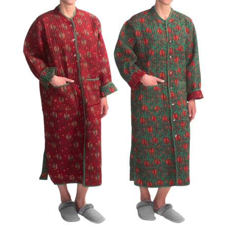 Orvis Quilted Cotton Robe - Reversible (For Women) in Red Floral R/Green