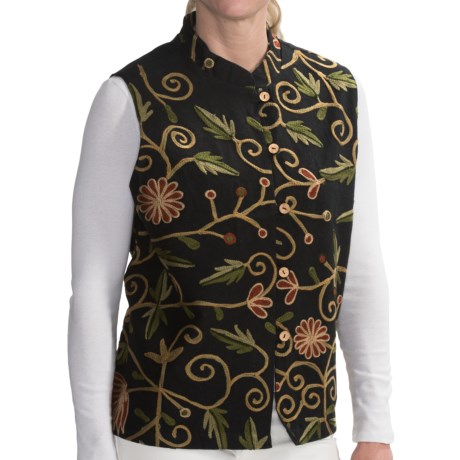 Orvis Quilted Reversible Printed Vest - Cotton (For Women) in Black Embroidery
