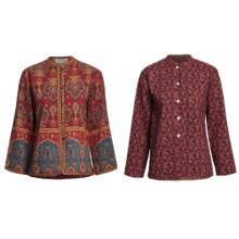 Orvis Reversible Print Jacket - Quilted Cotton (For Petite Women) in Red Fleur De Lis/Wine Print - Closeouts