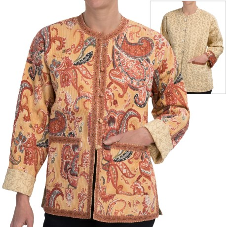 Orvis Reversible Printed Patch Pocket Jacket - Cotton (For Women) in Beige Paisley