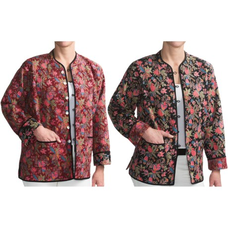 Orvis Reversible Printed Patch Pocket Jacket - Cotton (For Women) in Black Floral