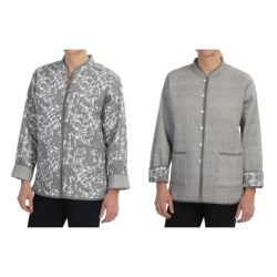 Orvis Reversible Printed Patch Pocket Jacket - Cotton (For Women) in Grey Floral