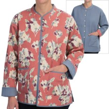Orvis Reversible Printed Patch Pocket Jacket - Cotton (For Women) in Raspberry Floral R/Blue - Closeouts