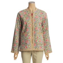 Orvis Reversible Printed Patch Pocket Jacket - Cotton (For Women) in Slate Floral/Tan Floral - Closeouts