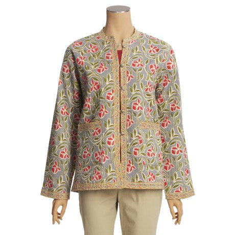 Orvis Reversible Printed Patch Pocket Jacket - Cotton (For Women) in Slate Floral/Tan Floral