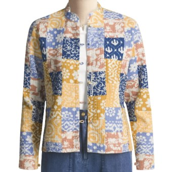Orvis Trapunto Patchwork Jacket (For Women) in Light Orange/Light Purple/Blue Multi Print