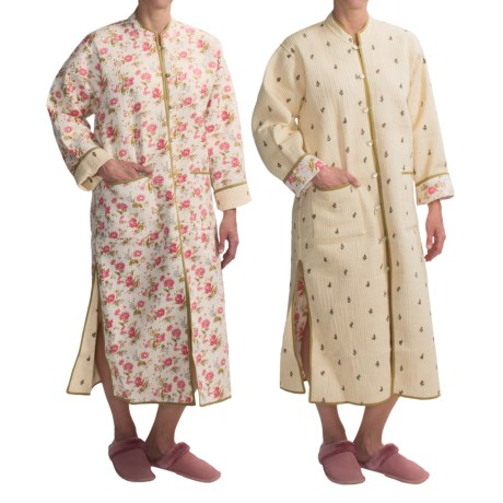 Orvis Trapunto Quilted Robe - Reversible (For Women) in Off White Floral