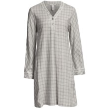 Oscar de la Renta Modern Comfort Flannel Night Shirt - Long Sleeve (For Women) in Heather Grey - Closeouts