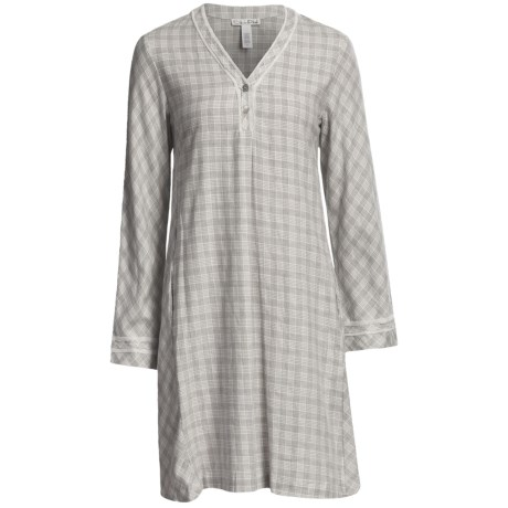Oscar de la Renta Modern Comfort Flannel Night Shirt - Long Sleeve (For Women) in Heather Grey