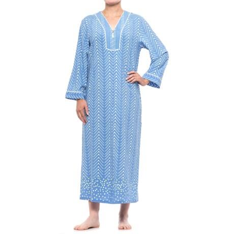 Oscar de la Renta Pink Caftan Robe - Partial Zip, Long Sleeve (For Women) in Blue Geo