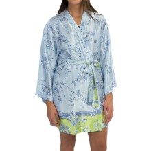 Oscar de la Renta Pink Label Charmeuse Wrap Robe - Long Sleeve (For Women) in Light Blue Floral - Closeouts
