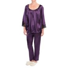 Oscar de la Renta Pink Label Lace Luster Pajamas - Satin, Long Sleeve (For Women) in Purple - Closeouts