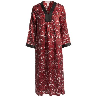 Oscar de la Renta Pink Label Zahara Nights Caftan - Zip Front (For Women) in Red Print