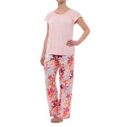 Oscar de la Renta Pink Oscar de la Renta Floral Pajamas - Short Sleeve (For Women) in Wildflower - Closeouts