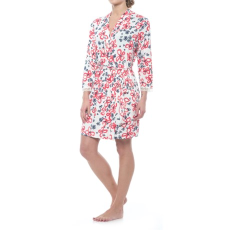 Oscar de la Renta Pink Oscar de la Renta Floral Robe - Long Sleeve (For Women) in Red/Navy