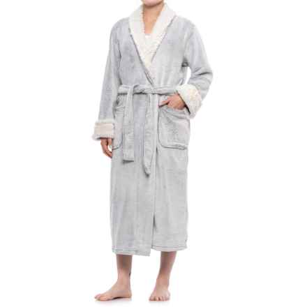 Oscar de la Renta Sherpa Trim Robe - Long Sleeve (For Women) in Charcoal - Closeouts