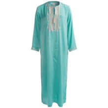 Oscar de la Renta Signature Caftan - Distressed Satin (For Women) in Blue Lagoon - Closeouts
