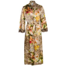 Oscar de la Renta Signature Long Wrap Robe - 3/4 Sleeve (For Women) in Tiger Lily - Closeouts