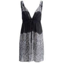 Oscar de la Renta Signature Midnight Ocean Georgette Chemise - Sleeveless (For Women) in Black Print - Closeouts