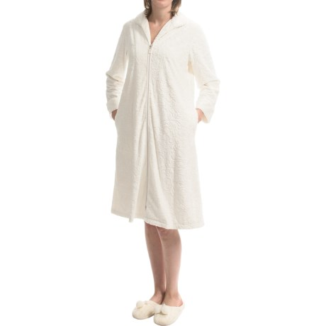 Oscar de la Renta Signature Plush Magnolias Robe Zip Front Long Sleeve For Women
