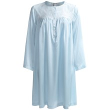 Oscar de la Renta Signature Short Charmeuse Nightgown - Long Sleeve (For Women) in Blue Dove - Closeouts