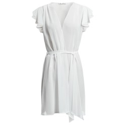 Oscar de la Renta Signature Simply Glamorous Wrap Robe - Short Sleeve (For Women) in Pearl