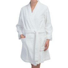 Oscar de la Renta Spa Retreat Robe - Embossed Cotton Terry, Long Sleeve (For Women) in White - Closeouts