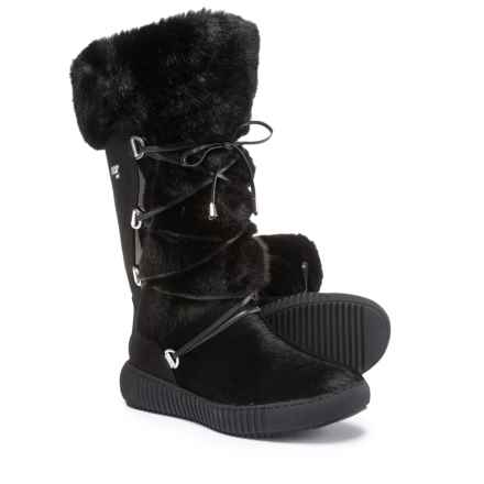 Oscar Sport Tall Wrap Boots - Faux Fur, Suede (For Women) in Black - Closeouts
