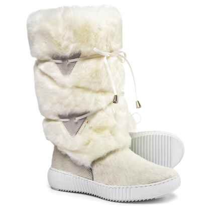 Oscar Sport Tall Wrap Faux-Fur Boots (For Women) in White - Closeouts