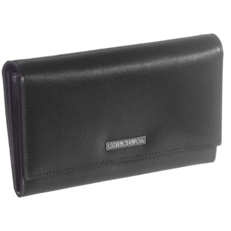 Ostrich & Co. Saffiano Leather Clutch Wallet (For Women) in Black