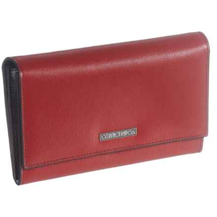 Ostrich & Co. Saffiano Leather Clutch Wallet (For Women) in Red - Closeouts