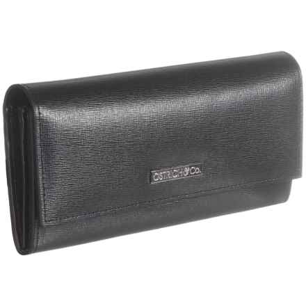 Ostrich & Co. Saffiano Leather Wallet (For Women) in Black - Closeouts