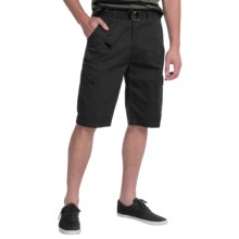 OTB Belted Solid Cargo Shorts (For Men) in Black - Closeouts