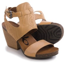 OTBT Lee Sandals - Leather, Stacked Heel (For Women) in Sahara - Closeouts
