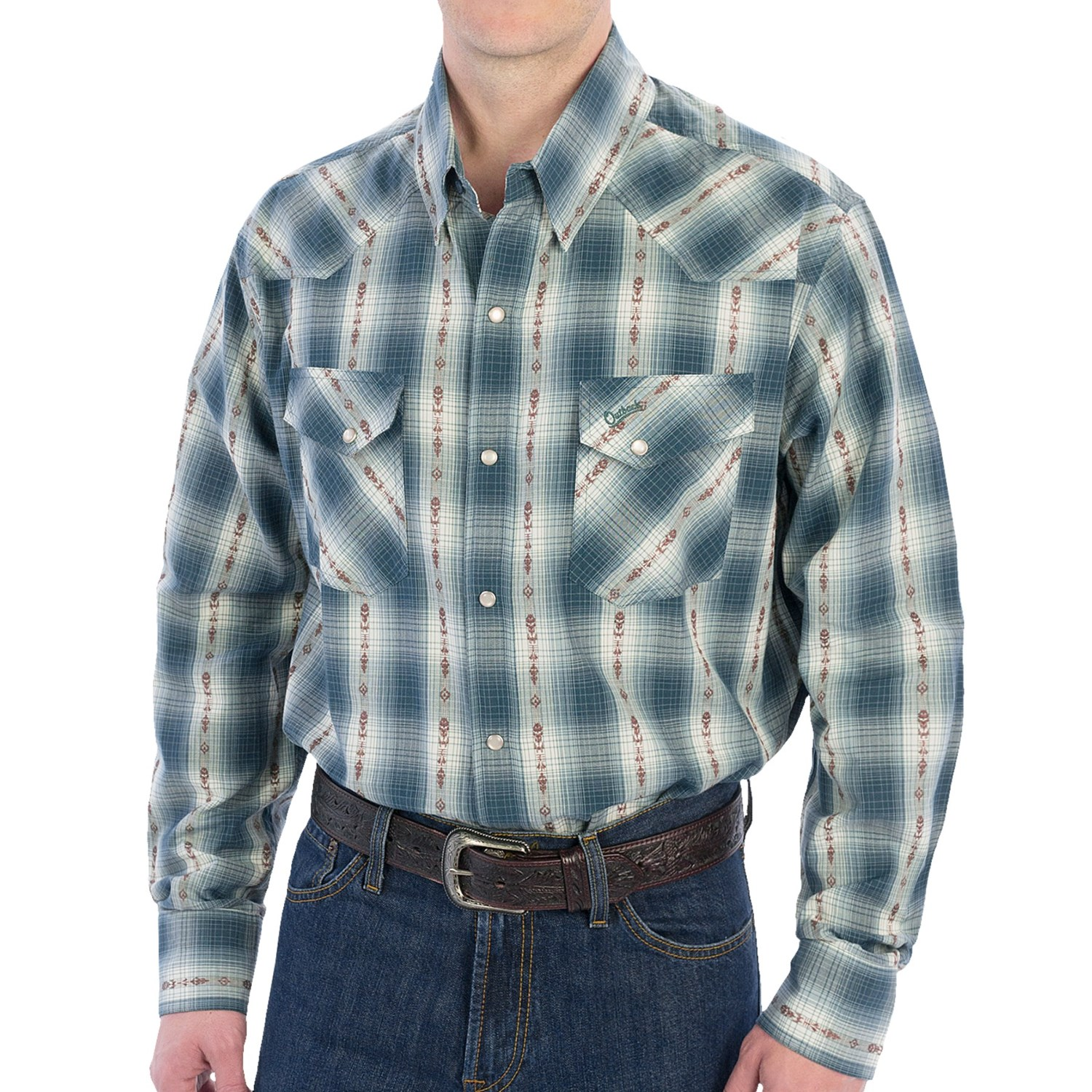 Outback trading dobby plaid shirt for men save 50 for Hidden button down collar shirts