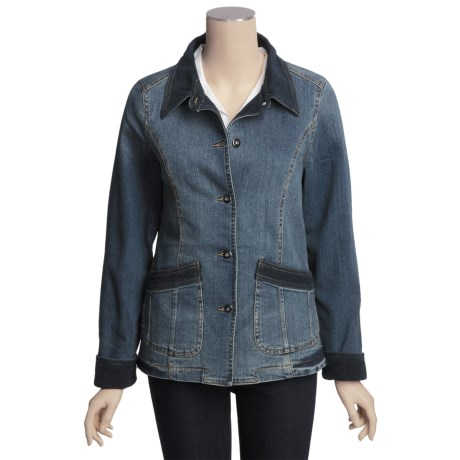 Outback Trading Weekend Jacket - Washed Denim, Corduroy Trim (For Women) in Denim