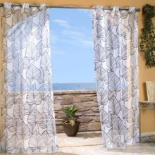 """Outdoor Decor Biscane Sheer Curtains - 108x84"""", Grommet-Top in Black - Closeouts"""