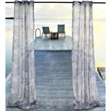 """Outdoor Decor Biscayne Sheer Indoor/Outdoor Curtains - 108x108"""", Grommet Top in Black - Closeouts"""