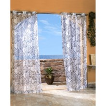 "Outdoor Decor Biscayne Sheer Indoor/Outdoor Curtains - 108x84"", Grommet-Top in Black - Closeouts"