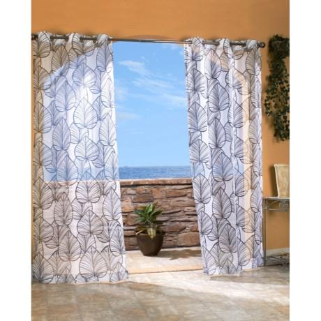 """Outdoor Decor Biscayne Sheer Indoor/Outdoor Curtains - 108x84"""", Grommet-Top in Black"""