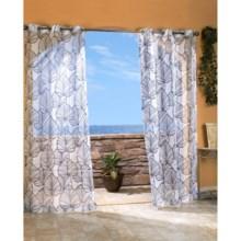"""Outdoor Decor Biscayne Sheer Indoor/Outdoor Curtains - 108x96"""", Grommet Top in Black - Closeouts"""