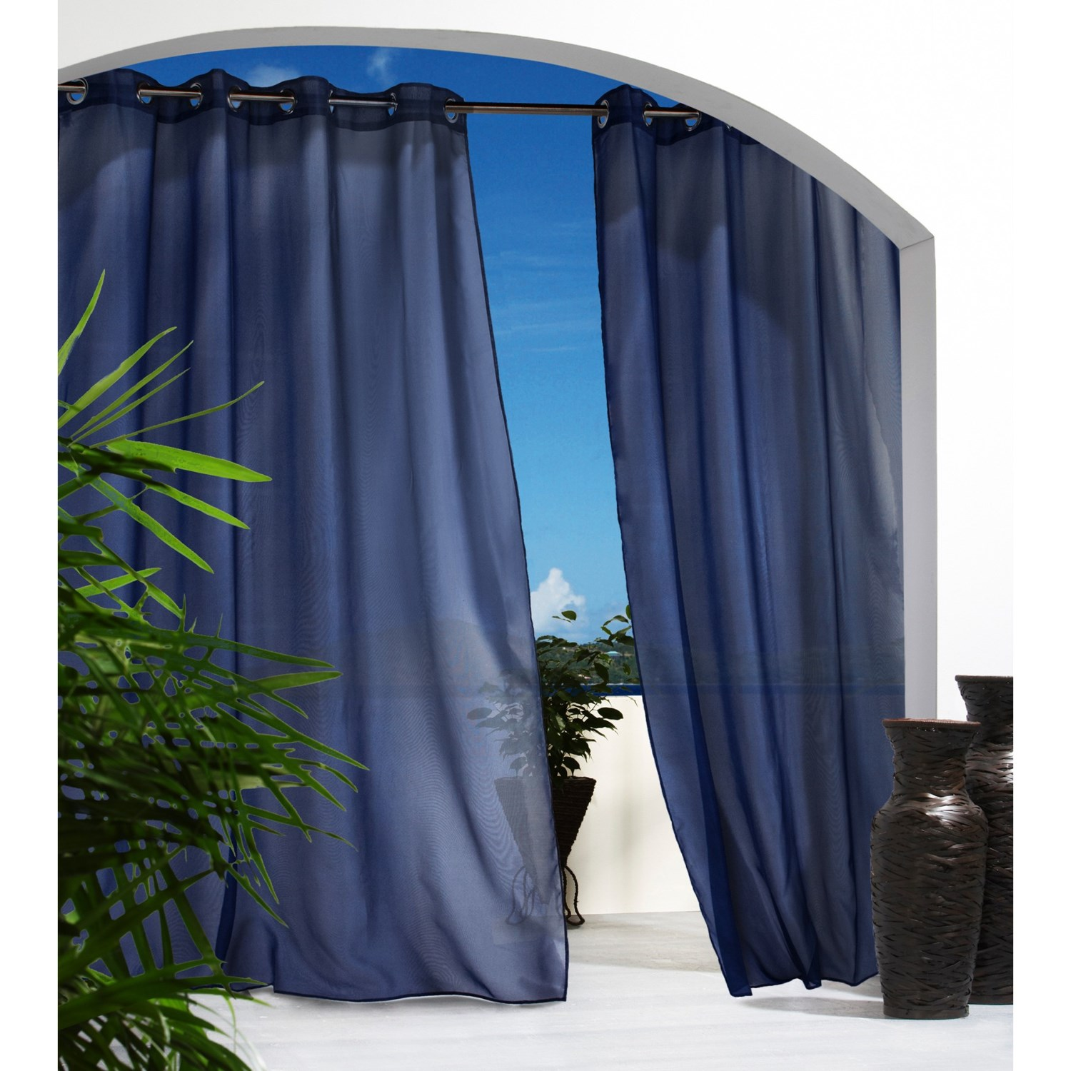 Outdoor Sheer Patio Curtains Louisa Outdoor Semi Sheer Grommet Curtain Panel Stripe