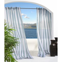 """Outdoor Decor Escape Stripe Sheer Indoor/Outdoor Curtains - 108x108"""", Grommet Top in Spa Blue - Closeouts"""