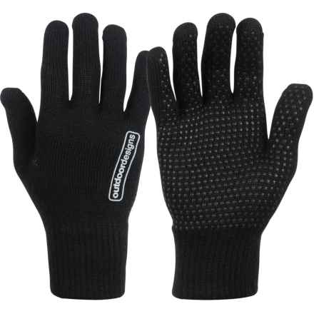Outdoor Designs Stretch Wool Grip Liner Gloves (For Men and Women) in Black - Closeouts