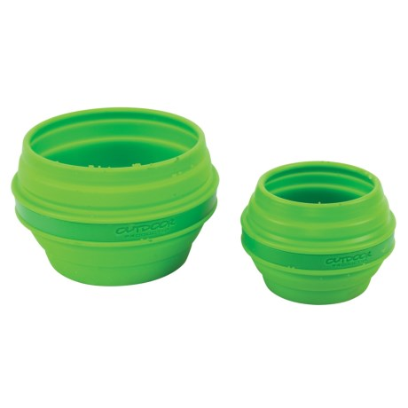 Outdoor Products Collapsible Silicone Bowl and Cup Set in Green