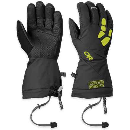 Outdoor Research Alpine Alibi II Gore-Tex® Gloves - Waterproof, Insulated (For Men) in Black/Lemongrass - Closeouts