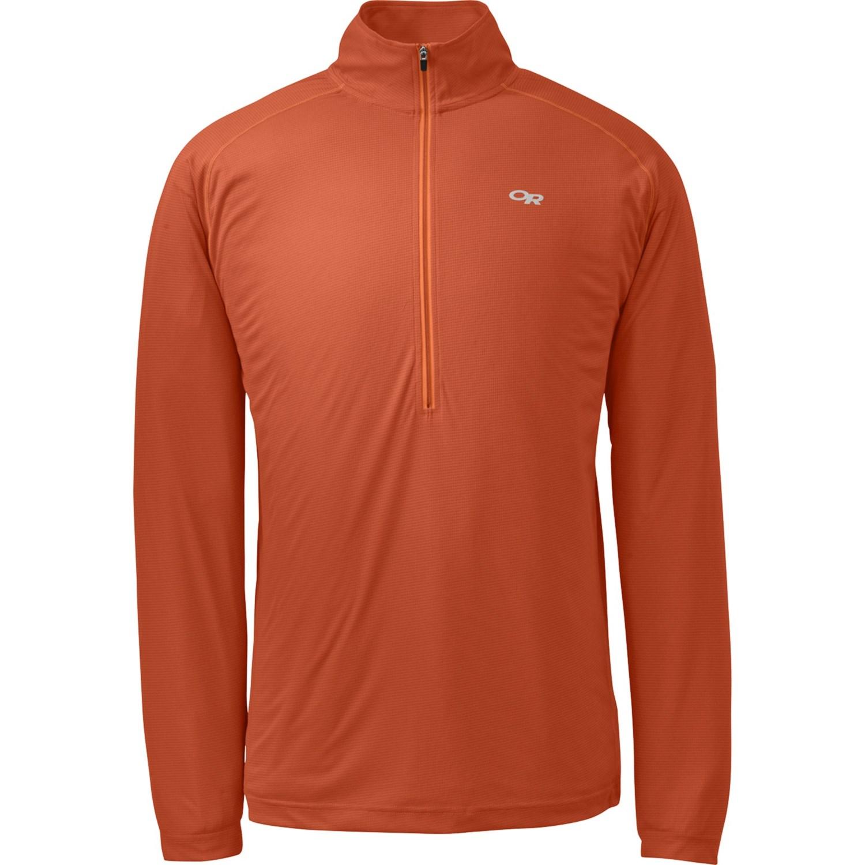 Outdoor research echo shirt upf 15 zip neck long for Men s upf long sleeve shirt