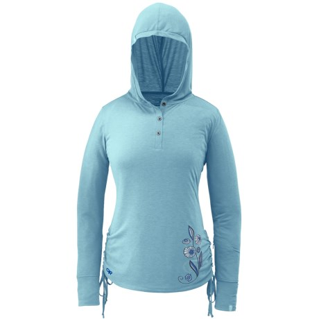 Outdoor Research Essence Henley Hooded Shirt - Long Sleeve (For Women) in Black/Aquarium