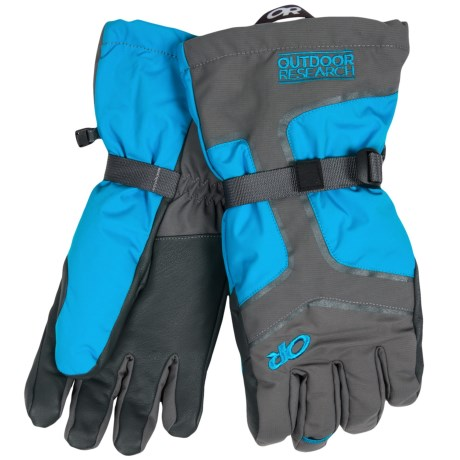 Outdoor Research Highcamp PrimaLoft® Gloves - Waterproof, Insulated (For Men) in Charcoal/Hydro/Pewter
